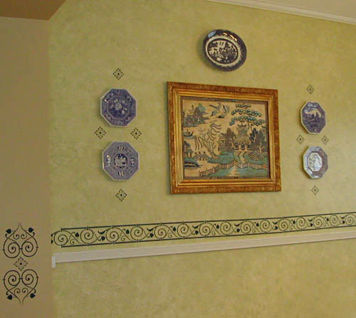 Wall Decorated With Blue and White China