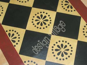 Diamond Pattern Floorcloth with Lunenburg Motif