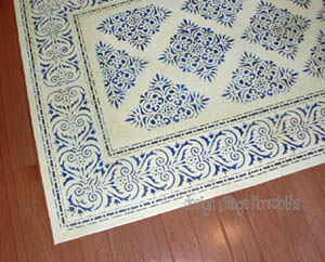 Blue and White Floor Cloth