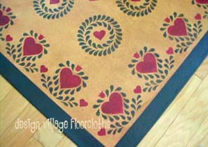 Hearts & Feathers Wreath Floorcloth