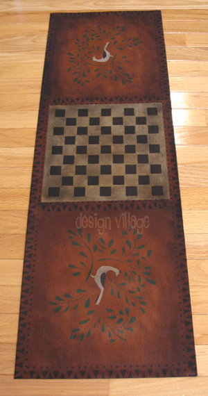 Bird in bush - Gameboard / Floorcloth / Table Runner in Spanish Red