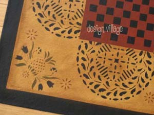 Close up view of Durant House Gameboard floorcloth