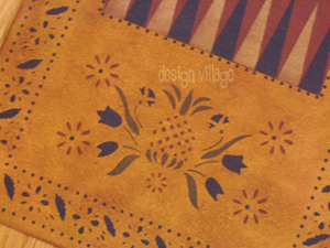 Close up view of Williamsburg Backgamon floorcloth