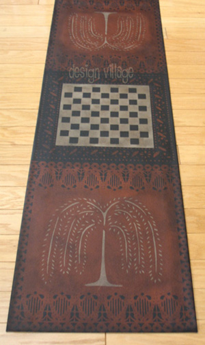 Primtive Willow Gameboard Floorcloth #2 in Spanish Red