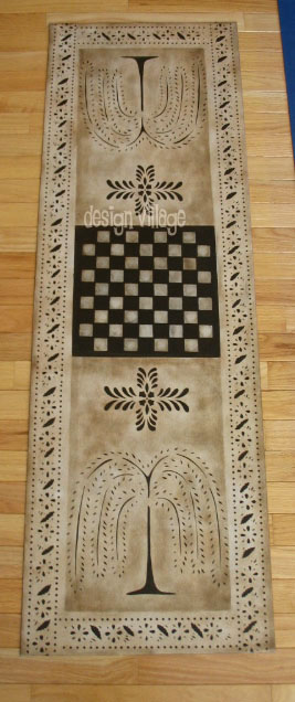 Design: Primtive Willow Gameboard Floorcloth #3 in Pearl Essence