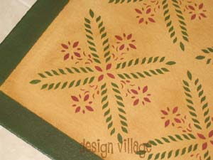 Colonial Flower Floorcloth 4- Pine Yellow