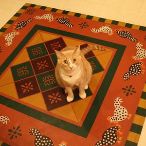 can on kitchen floorcloth