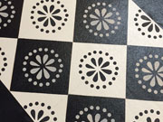 Black and White Diamonds with Lunenburg Motif floorcloth