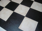Black and White Checks Floorcloth