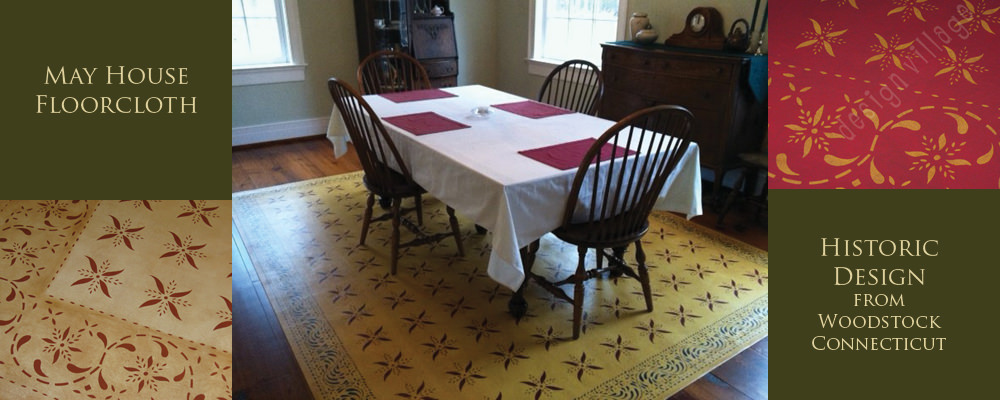 Stencil design  from Bump Tavern at the Farmers Museum Coopertown New York. Close up of Bump Tavern floorcloth in Pine Yellow. Bump Tavern Floorcloth installed in a dining room.